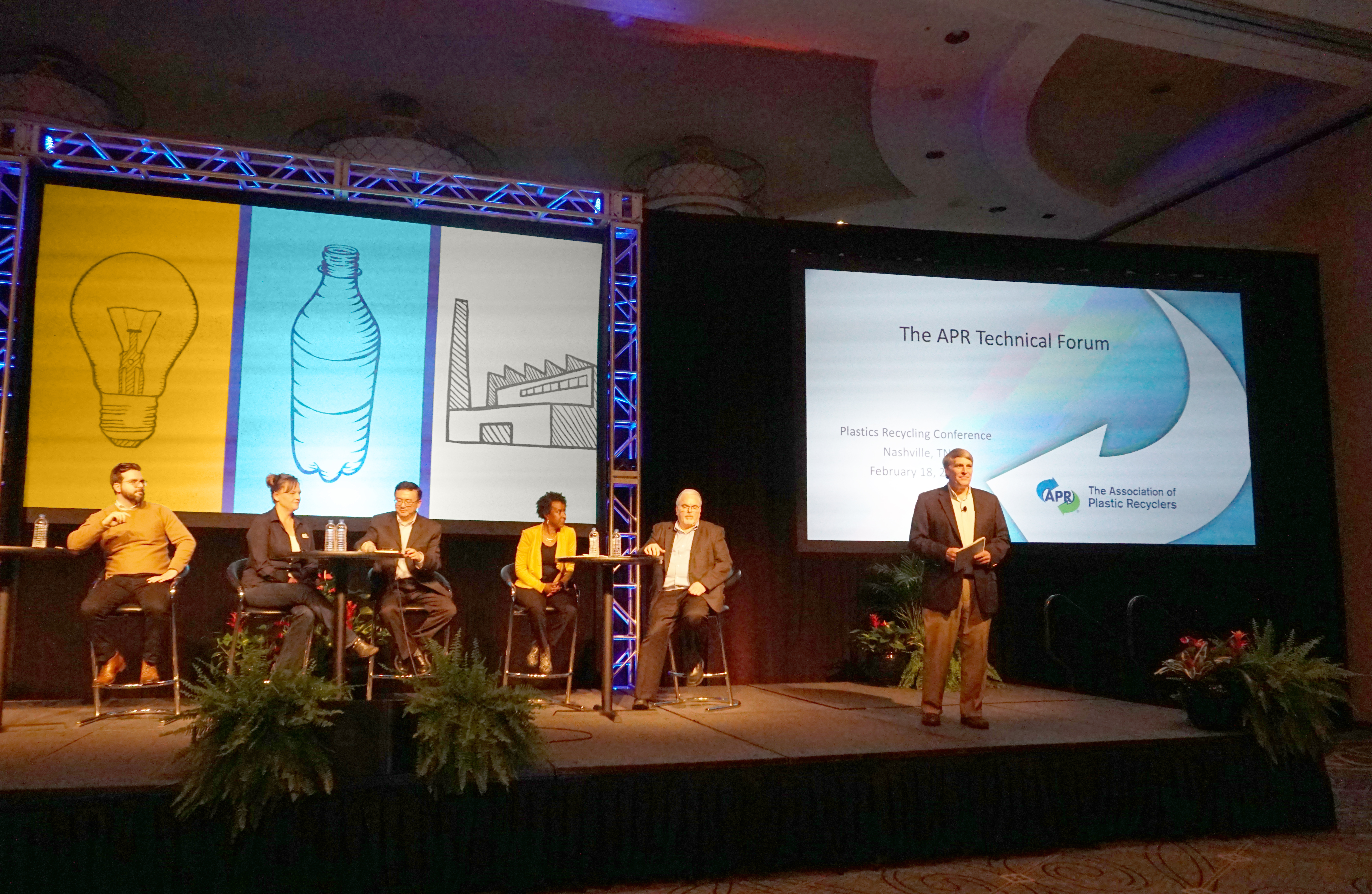 2020 Plastics Recycling Showcase recipicents on stage with APR's Technical Director, John Standish